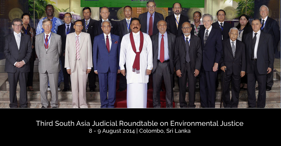 Front (L–R): Bruce L Davis, Vice President – ADB, Lord Robert Carnwath, Judge, Supreme Court of England, G L Pieris, Minister of External Affairs, Chief Justice Mohan Pieris, President Mahinda Rajapaksa, Rauf Hakeem, Minister of Justice, Chief Justice Muzammel Hossain from Bangladesh, Clifford Wallace, Senior Judge, Chief Judge Emeritus, The United States Court of Appeals for the Ninth Circuit, Justice Christopher Gregory Weeramantry and Adel Omar Sherif, Deputy Chief Justice of Egypt Back (L–R): Sri Widowa